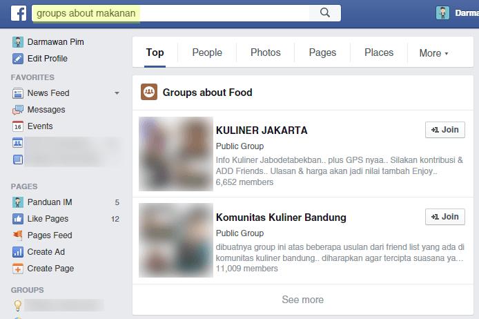Mencari grup di FB