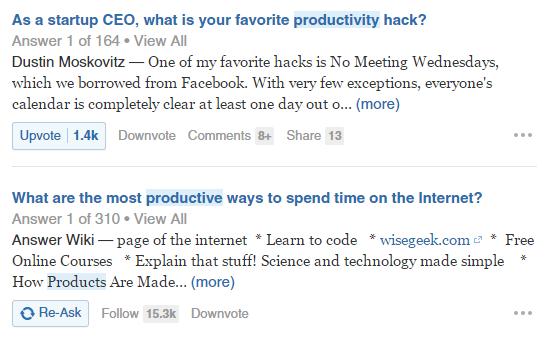 Produktivitas di Quora