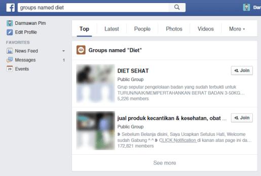 Mencari grup di Facebook