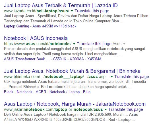 Hasil pencarian beli laptop asus