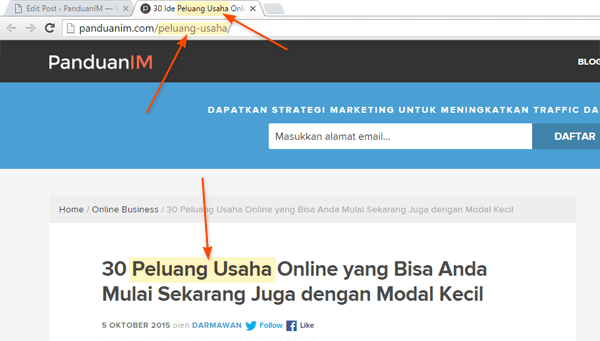 Lokasi keyword di halaman website
