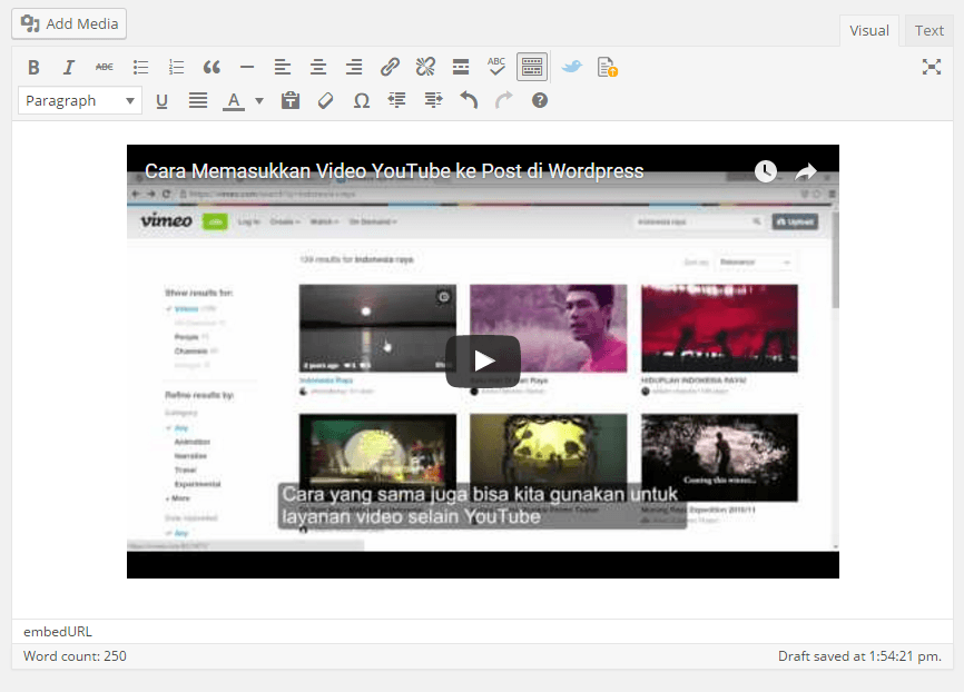Paste video ke WordPress