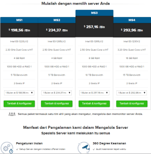 tabel harga server di supersite resellerclub