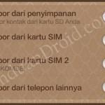 Kontak Telepon, Xiaomi, Redmi 1S, impor kontak