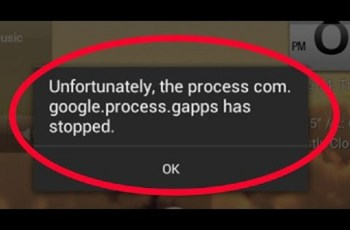 Error the process com.google.process.gapps has stopped