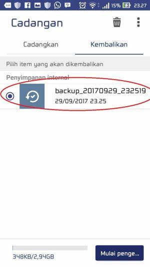 Cara Melakukan Backup dan Restore Aplikasi Data 8