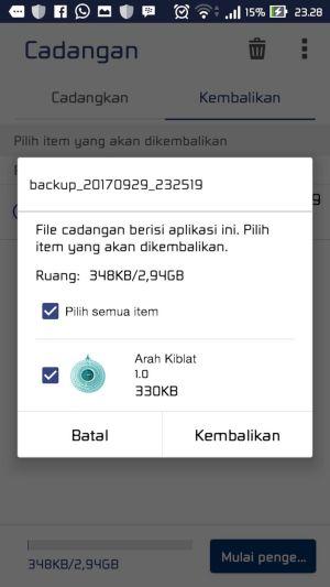 Cara Melakukan Backup dan Restore Aplikasi Data 9