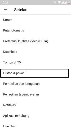 3 pilih opsi Histori dan Privasi