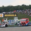 Trucks navigating a corner on the Autodrom Most Circuit
