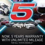 Toyota Kini Hadir Dengan Waranti 5 Tahun