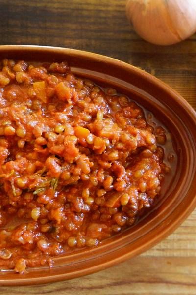 Ragù di lenticchie vegetariano