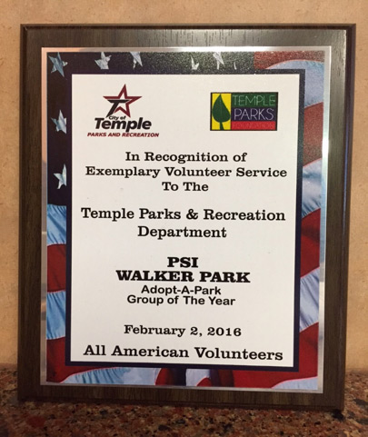 City of Temple Adopt-a-Park Group of the Year Award