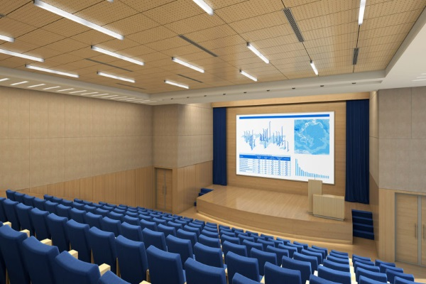 Theater with acoustic panels installed