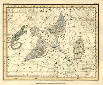 O Cisne e a Lira dominam o zénite no início da noite. Pena as figuras serem imaginárias e não reais, pois facilitava imenso orientar-se no céu. Imagem: Chapa 11 do atlas celeste de Alexander Jamieson (1822) © U.S.Naval Observatory Library