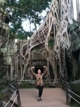 Nannette in Ta Prohm temple, Siem Reap, the location of Tomb Raiders, the movie starring Angeline Joile