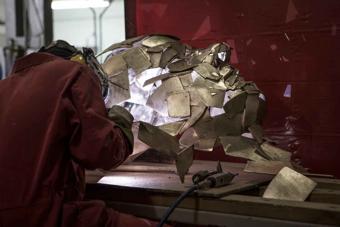 'welding' of 'bronze' 'sculpture' at Pangolin Editions