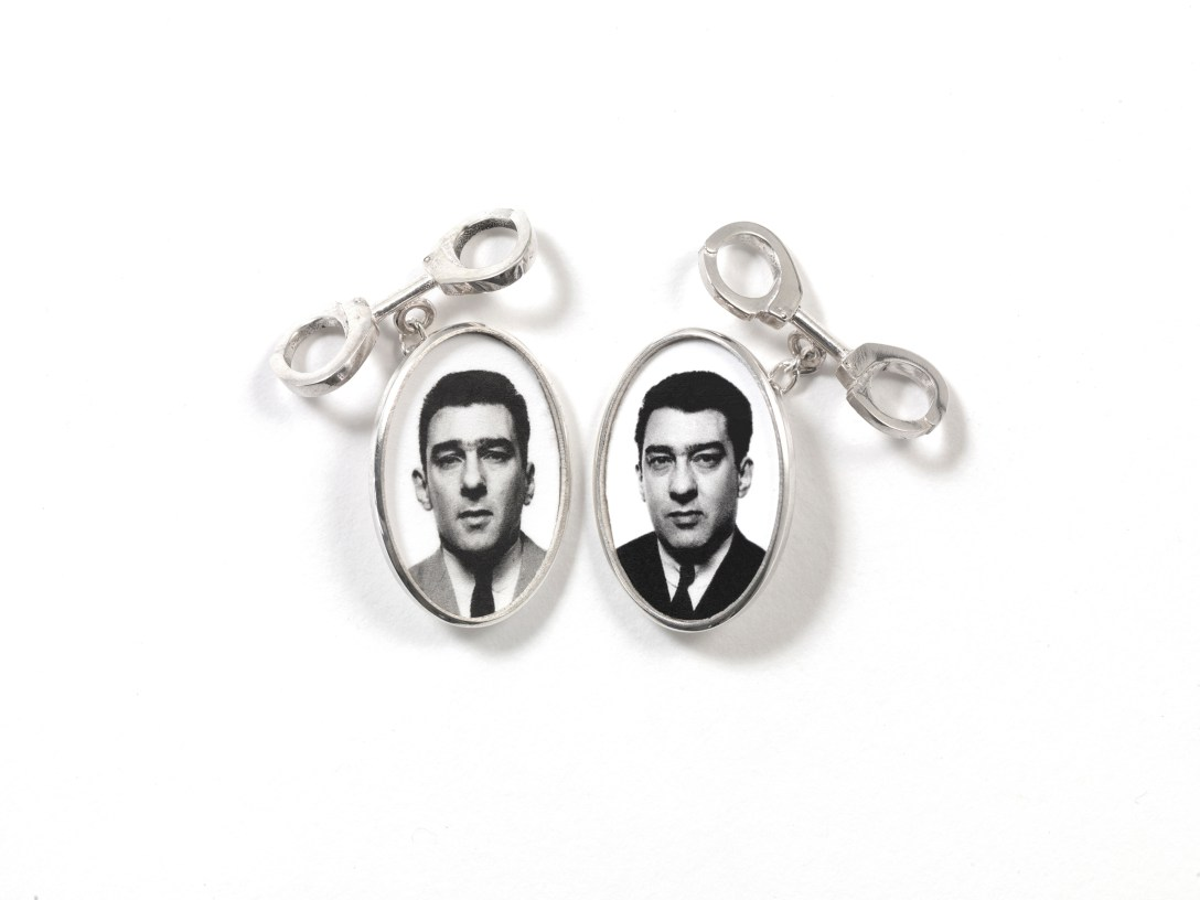'Cufflinks' showing images of 'the kray' 'twins' cast in 'Silver' by 'David Bailey'