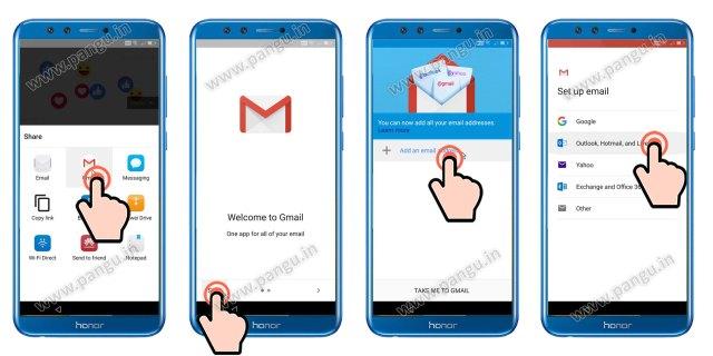 Add new Gmail Account in honor 9 lite LLD-AL10