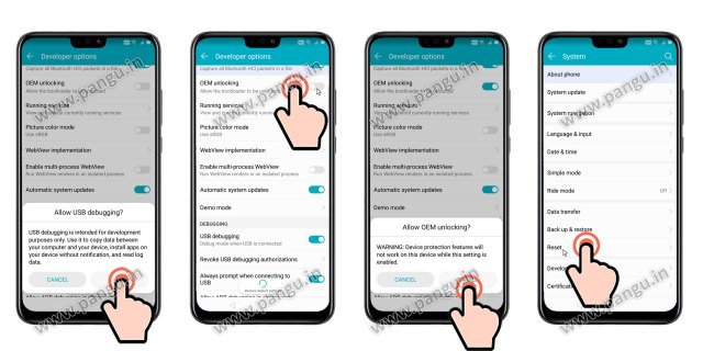 Enable/Allow OEM unlocking Huawei Honor 8X JSN-L22