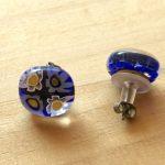 No.3-4 ガラスのピアス(ブルー) … ¥1,230 (大きさ:約1.5cm)(金属アレルギー非対応)