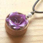 折紙薔薇のチョーカー(紫) … ¥1,700 (ヘッド:2cm チョーカー:40cm) (アメリカンチェリー)(折紙)