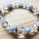 No.47 天然石ブレス ブルー x クリア … ¥1,800 (大きさ:15cm) (ガーデンクォーツ・ブルーレースアゲート・アクアマリン・水晶・スモーキークォーツ)