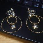 No.160 ダブルリング&スターのイヤリング(ネジバネ式) … ¥1,700 (縦:3.5cm)(金具・ジルコニア・スワロフスキー)