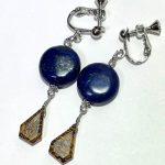 No.213 エレファントスキンジャスパーとラピスラズリのイヤリング … ¥1,200(税込 … ¥1,320) (大きさ:3cm) (素材:天然石) (アレルギー:非対応)