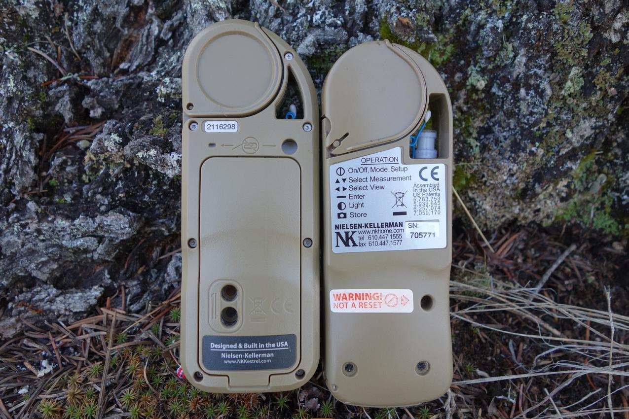Kestrel 5700 Elite and Kestrel 4500AB Rear View