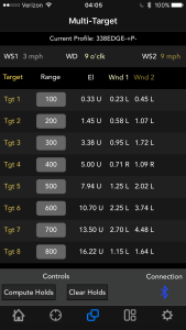 Kestrel Ballistics App Multi Target Screenshot