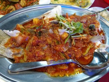 Steamed assam chilli grouper