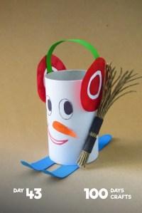 zimowe prace plastyczne - rolka po papierze