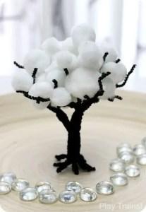 zimowe prace plastyczne - drzewko