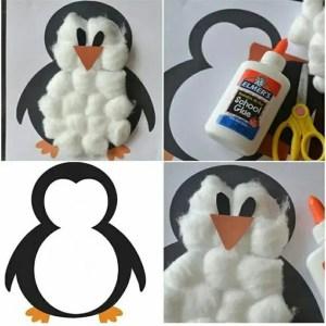 zimowe prace plastyczne - pingwin z waty