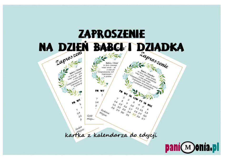 Zaproszenie Na Dzień Babci I Dziadka Kartka Z Kalendarza Pani Monia