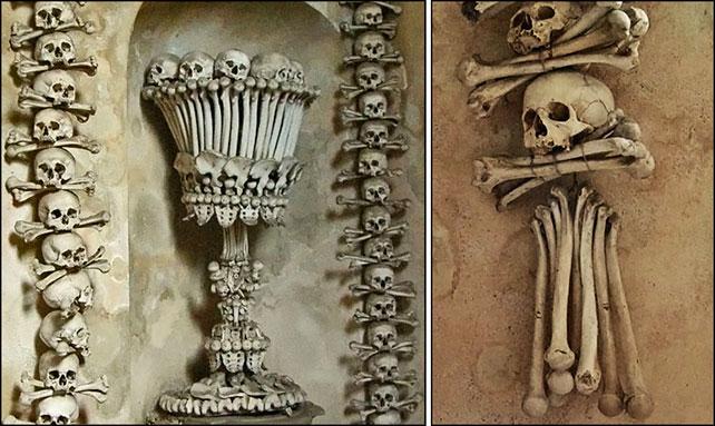 Украшения из костей в часовне в Костнице, Чехия