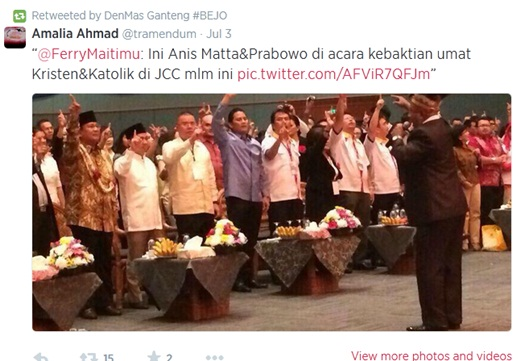 Prabowo & Anis Matta Datangi Kebaktian Gereja di JCC 1