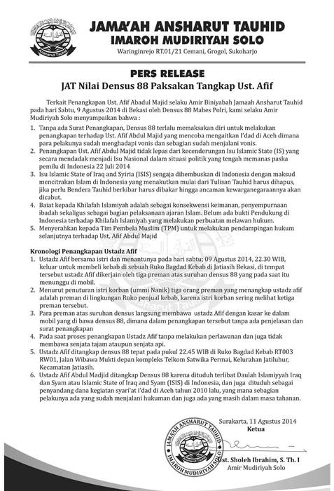 Release JAT Solo Soal Penculikan Densus 88 Pada Ustadz Afif