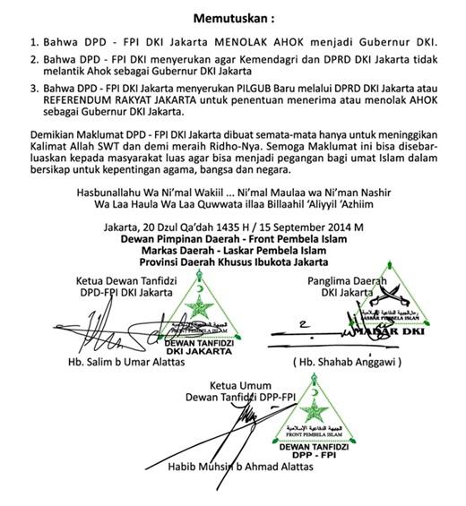 Maklumat FPI Tolak Ahok Jadi Gubernur DKI 2