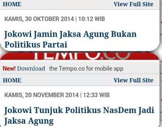 Jokowi Ingkar Janji Soal Jaksa Agung