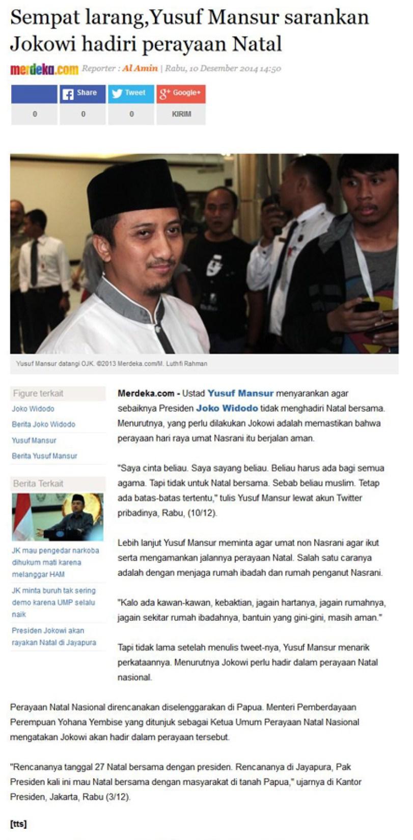 Merdeka.com diduga fitnah Ustadz Yusuf Mansur