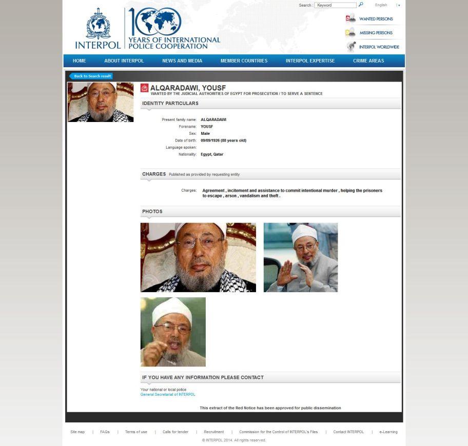 yusuf qaradawi buronan interpol