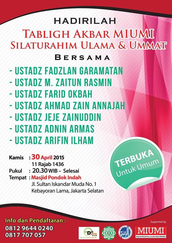 Tabligh Akbar & Silaturahim MIUMI Pusat di Jakarta
