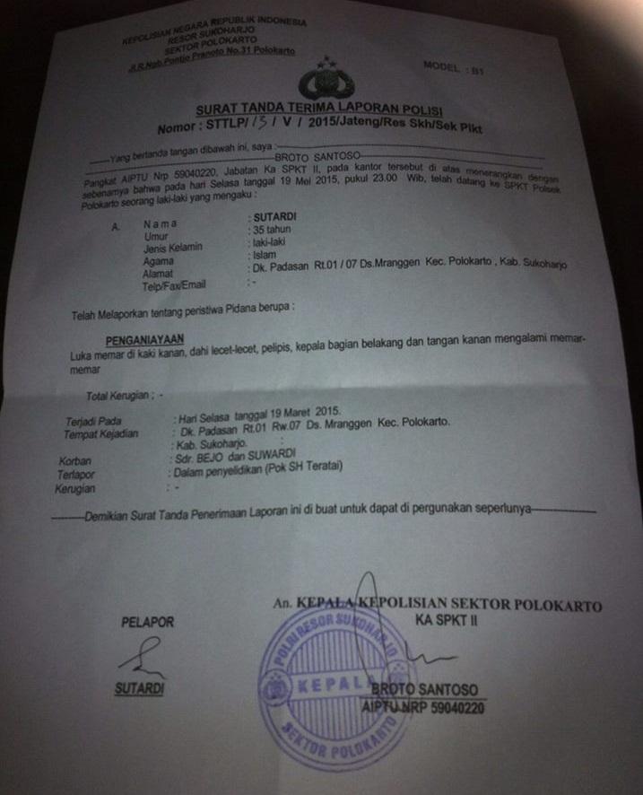 Surat Laporan Kepolisian Aktivis Masjid di Sukoharjo dikeroyok SH Teratai