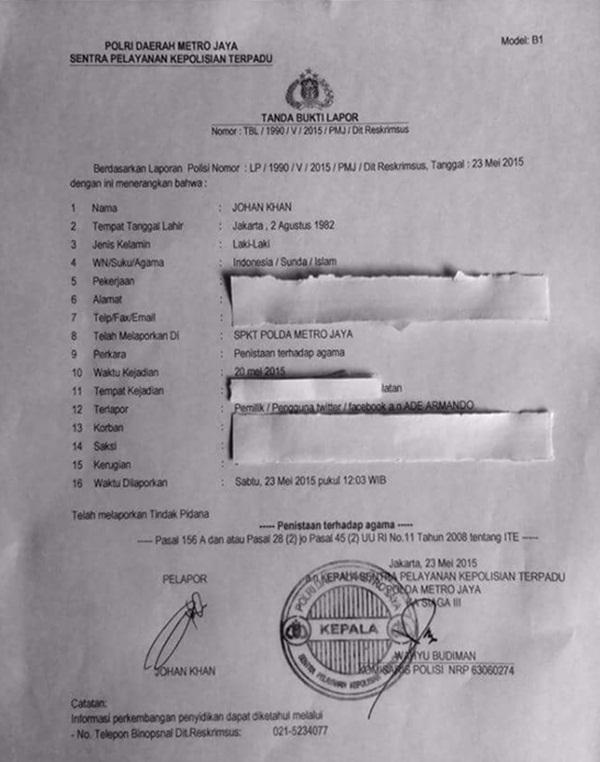 Surat Laporan ke Polisi Kepada Ade Armando Liberal