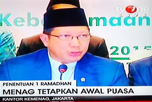 Pemerintah Tetapkan 1 Ramadhan 1436 H Jatuh pada Hari Kamis 18 Juni 2015