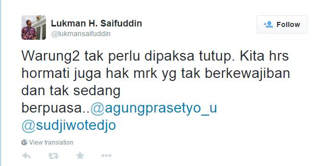 Twitter Menteri Agama Lukman Hakim Saifuddin
