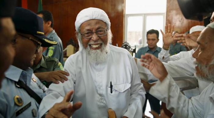 senyum Abu Bakar Ba'asyir