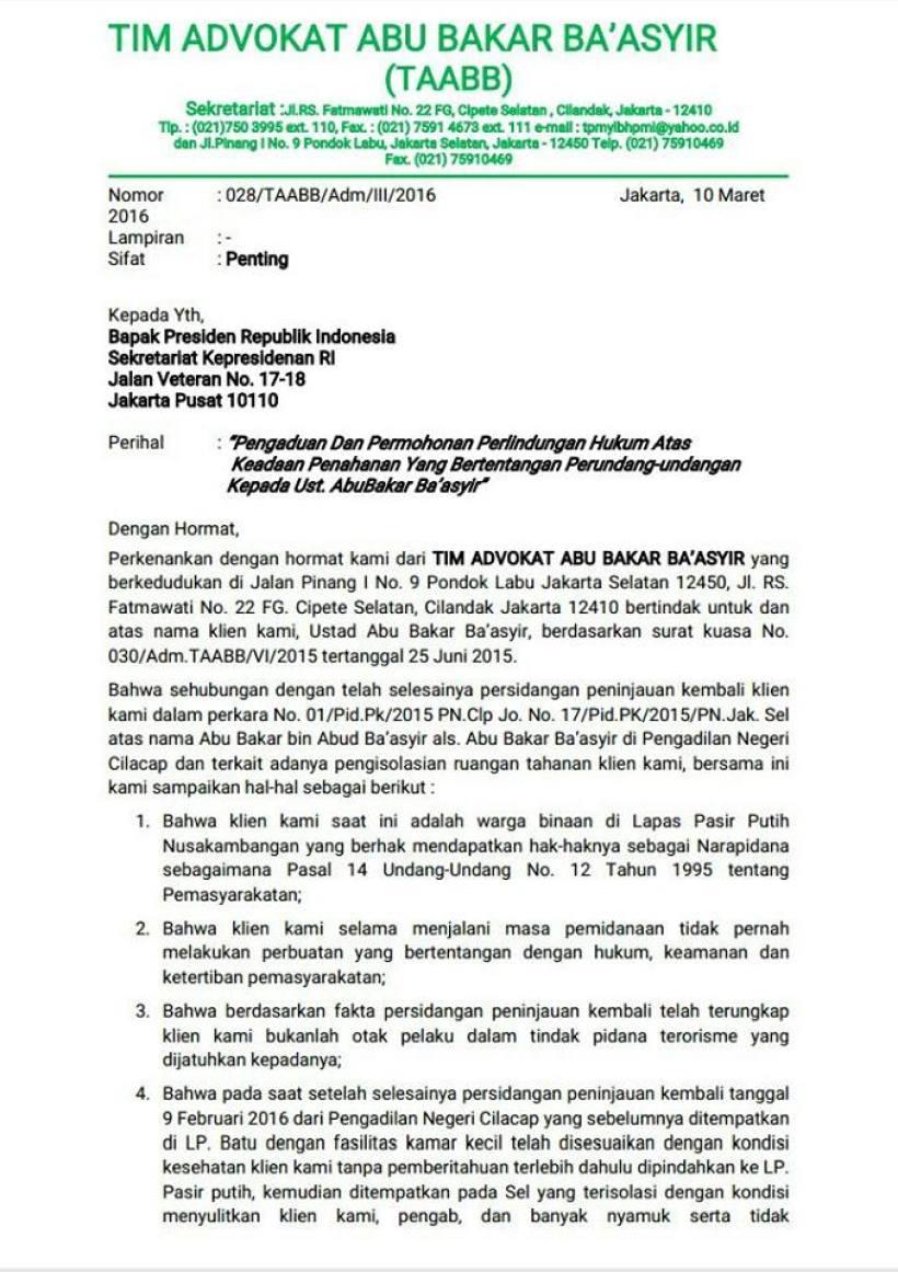Surat TPM 1