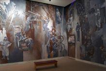 Dekoracje na ścinach sal wystawowych. Blokada Leningradu.